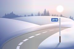 Στυλοβάτης 2018 μιλι'ου χιλιομέτρου στο χειμερινό δρόμο Νέο έτος έννοιας ελεύθερη απεικόνιση δικαιώματος
