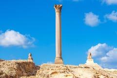 Στυλοβάτης του Πομπηίου ` s και αρχαίο sphinx Στοκ Φωτογραφίες