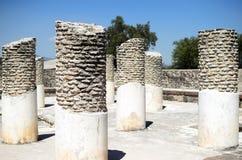 Στυλοβάτες στην αρχαία πόλη Toltec στη Τούλα στοκ φωτογραφίες