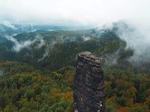 Στυλοβάτες ψαμμίτη στο εθνικό πάρκο τσεχική Ελβετία στο ομιχλώδες Au Στοκ Φωτογραφίες