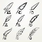 Στυλός και μελάνι φτερών συλλογής Στοκ εικόνες με δικαίωμα ελεύθερης χρήσης