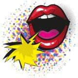 Στόμα κραυγής με τα κόκκινα χείλια και το λαϊκό κωμικό ύφος τέχνης λεκτικών φυσαλίδων διανυσματική απεικόνιση