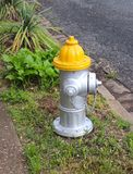 Στόμιο υδροληψίας πυρκαγιάς με την κίτρινη κορυφή στοκ εικόνα με δικαίωμα ελεύθερης χρήσης