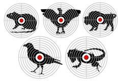 Στόχοι για το ζωικό πυροβολισμό Κυνήγι βλαστών κατάρτισης πολικό καθορισμένο διάνυσμα καρδιών κινούμενων σχεδίων διανυσματική απεικόνιση
