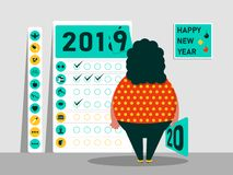 Στόχοι και σχέδιο για το 2019 - το 2020 Ημερολόγιο των συνηθειών Αστείος παχύς χαρακτήρας καλή χρονιά επίσης corel σύρετε το διάν ελεύθερη απεικόνιση δικαιώματος