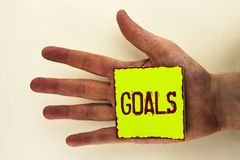 Στόχοι κειμένων γραψίματος λέξης Η επιχειρησιακή έννοια για τα επιθυμητά επιτεύγματα στοχεύει σε τι θέλετε να ολοκληρώσετε στο μέ Στοκ εικόνες με δικαίωμα ελεύθερης χρήσης