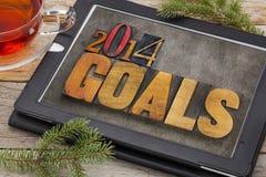 2014 στόχοι σε μια ψηφιακή οθόνη ταμπλετών στοκ φωτογραφία