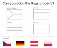 Στόχος βιβλίων χρωματισμού - ευρωπαϊκές σημαίες με τη λύση απεικόνιση αποθεμάτων