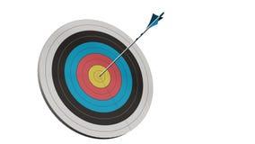 Στόχος με ένα βέλος - στόχος με τα arros τόξων στη μέση του στόχου που απομονώνεται Στοκ εικόνα με δικαίωμα ελεύθερης χρήσης