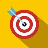Στόχος με το επίπεδο εικονίδιο βελών Στοκ Εικόνες