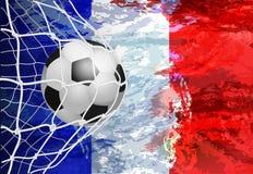 Στόχος ποδοσφαίρου Γαλλική σημαία με μια σφαίρα ποδοσφαίρου σε ένα δίχτυ επίσης corel σύρετε το διάνυσμα απεικόνισης Στοκ φωτογραφίες με δικαίωμα ελεύθερης χρήσης