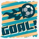 Στόχος ποδοσφαίρου Η σφαίρα σε μια πυρκαγιά Σχέδιο τυπωμένων υλών ποδοσφαίρου Ποδόσφαιρο Στοκ Φωτογραφίες