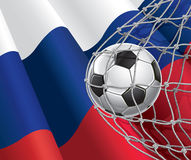 Στόχος ποδοσφαίρου. Ρωσική σημαία με μια σφαίρα ποδοσφαίρου. απεικόνιση αποθεμάτων