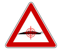 Στόχος στο προειδοποιητικό σημάδι γυμνοσαλιάγκων Στοκ Εικόνα