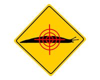 Στόχος στο προειδοποιητικό σημάδι γυμνοσαλιάγκων Στοκ φωτογραφία με δικαίωμα ελεύθερης χρήσης