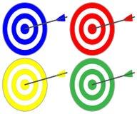 Στόχος, 4 χρωματισμένος στόχος με το βέλος Στοκ Εικόνα