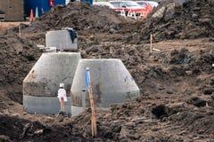 Συγκεκριμένες καταπακτές κατά τη διάρκεια της κατασκευής Στοκ Εικόνα