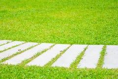Συγκεκριμένη διάβαση πεζών στον πράσινο χορτοτάπητα Στοκ φωτογραφία με δικαίωμα ελεύθερης χρήσης