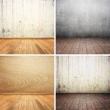Συγκεκριμένο και ξύλινο σύνολο συλλογής δωματίων Στοκ Φωτογραφίες