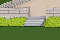 Συγκεκριμένο Patio με τους θάμνους απεικόνιση αποθεμάτων