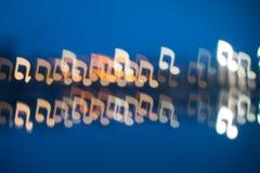 Συγκεχυμένα διαμορφωμένα σημείωση φω'τα μουσικής Στοκ Φωτογραφίες