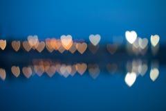 Συγκεχυμένα καρδιά-διαμορφωμένα φω'τα Στοκ φωτογραφίες με δικαίωμα ελεύθερης χρήσης
