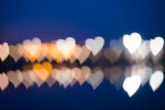 Συγκεχυμένα καρδιά-διαμορφωμένα φω'τα Στοκ φωτογραφία με δικαίωμα ελεύθερης χρήσης