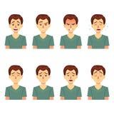 Συγκινήσεις ειδώλων Θέστε ένα άτομο με ποικίλες συγκινήσεις Αρσενικό πρόσωπο με τις διαφορετικές εκφράσεις άτομο στο επίπεδο σχέδ ελεύθερη απεικόνιση δικαιώματος