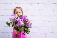 Συγκινήσεις παιδιών ` s Ευτυχές παιδί με μια ανθοδέσμη της πασχαλιάς στα χέρια του Στοκ εικόνα με δικαίωμα ελεύθερης χρήσης