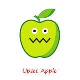 Συγκινήσεις της Apple εμβλημάτων Χαριτωμένα κινούμενα σχέδια η πράσινη Apple Στοκ Εικόνα