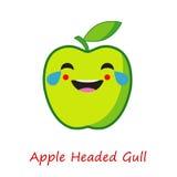 Συγκινήσεις της Apple εμβλημάτων Χαριτωμένα κινούμενα σχέδια η πράσινη Apple απεικόνιση αποθεμάτων