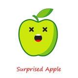 Συγκινήσεις της Apple εμβλημάτων Χαριτωμένα κινούμενα σχέδια η πράσινη Apple Στοκ Φωτογραφία