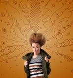 Συγκινημένη νέα γυναίκα με το ακραίο hairtsyle και συρμένες τις χέρι γραμμές Στοκ Εικόνες