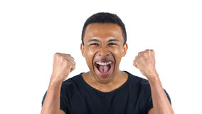 Συγκινημένος μαύρος που γιορτάζει την επιτυχία του στοκ εικόνα με δικαίωμα ελεύθερης χρήσης
