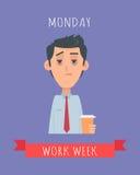 Συγκινητική διανυσματική έννοια εβδομάδας εργασίας στο επίπεδο σχέδιο ελεύθερη απεικόνιση δικαιώματος