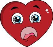 Συγκλονισμένη πρόσωπο έκφραση μορφής καρδιών κινούμενων σχεδίων κόκκινου χρώματος απεικόνιση αποθεμάτων