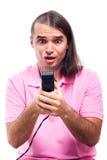 Συγκλονισμένο μισό φαλακρό άτομο με trimmer τριχώματος στοκ εικόνα