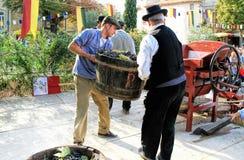 Συγκομίζοντας σταφύλια: φεστιβάλ της συγκομιδής σταφυλιών στο chusclan vil Στοκ Εικόνες