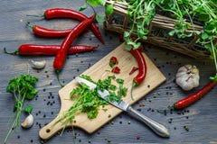 Συγκομιδή των homegrown καρυκευμάτων για το υγιές γεύμα στοκ εικόνες