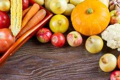 Συγκομιδή ημέρας των ευχαριστιών λαχανικών φθινοπώρου, ακατέργαστη υγιής οργανική τροφή στο ξύλινο υπόβαθρο Στοκ Εικόνα