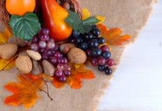 Συγκομιδή ημέρας των ευχαριστιών των φρούτων και των καρυδιών στοκ φωτογραφίες