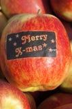 Συγκομιδή της Apple, Betuwe, με την εύθυμη αυτοκόλλητη ετικέττα Χριστουγέννων Στοκ Φωτογραφίες
