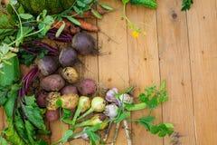 Συγκομιδή των φρέσκων λαχανικών στο ξύλινο υπόβαθρο Τοπ όψη Πατάτες, καρότο, κολοκύνθη, μπιζέλια, ντομάτες Στοκ Εικόνες