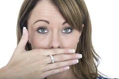 Συγκλονισμένη νέα γυναίκα Burping Στοκ Εικόνες
