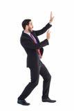 Συγκλονισμένος επιχειρηματίας που προστατεύεται με αυτά τα χέρια στοκ φωτογραφία με δικαίωμα ελεύθερης χρήσης