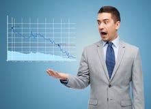 Συγκλονισμένος επιχειρηματίας στο κοστούμι που κοιτάζει στο διάγραμμα στοκ εικόνα