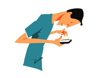 Συγκλονισμένο άτομο με το έξυπνο τηλέφωνο Στοκ εικόνες με δικαίωμα ελεύθερης χρήσης