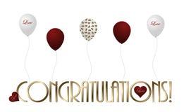 Συγχαρητήρια και μπαλόνια Στοκ Εικόνα