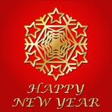 συγχαρητήρια καλή χρονιά Χρυσό snowflake κάρτα διάνυσμα Στοκ Εικόνες