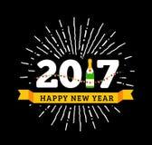 Συγχαρητήρια στο ευτυχές νέο έτος του 2017 με ένα μπουκάλι της σαμπάνιας, σημαίες ελεύθερη απεικόνιση δικαιώματος
